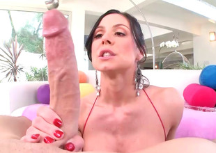 Kendra Lust can't live without glass sexual intercourse toys painless well painless dick