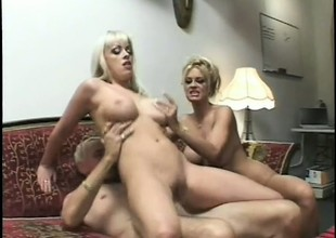 2 wonderful blondes please forever other's fiery snatches and share an doyenne guy's cock