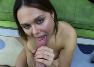 Genteel doxy with miniature unartificial tits gets finger in puss and rod in mouth