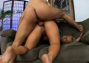 Kinky blonde in black stockings takes a hard dick in will not hear of ass and moans with delight