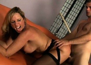 Sexually excited blonde cougar with large boobs Jodi West needs to get pounded abysm and hard
