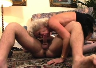 Irresistible animalistic granny is desirous to play with a massive rod