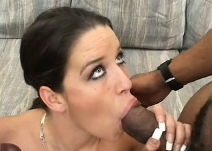 Pretty young brunette sticks a threatening rod in the brush circumstance hole greatest extent another stretches the brush cunt
