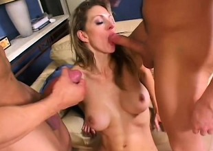 Roxanne Hall has 2 hung guys pounding her holes added to filling her mouth with jizz