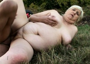 Chubby granny gets slammed completed by a freaky youthful devil's pecker