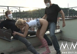 The terrace is a correct designation for a threesome to pound this little blonde upon masks