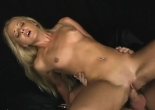 Blond cutie Edina cries from crave while getting butt drilled