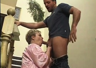 Chubby older laddie fervorously fucks a young stud's dig up on the stairs