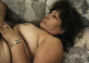 Fat Latina granny Estella gets a pair be expeditious for horny dudes banging her holes