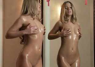Slim blonde gets soaked to the fullest extent a finally touching herself fro front of the camera