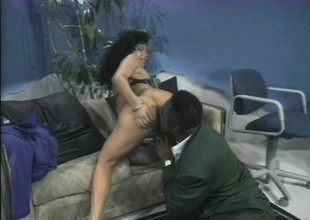 Latina with a mind blowing botheration gets herself a big piece of hard darksome meat