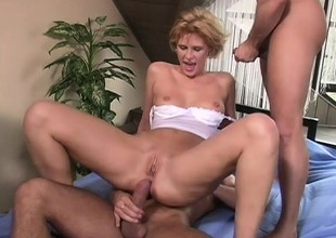 Short haired blonde costly with a big butt gets a rough Dping