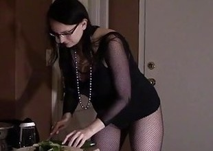 Hot Room Service Slut Bonks Cucumber previous to Fucking and milking guests cock