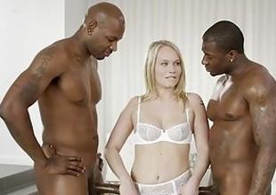 BLACKED Pretty Blonde Dakota James Screams With 2 Big Swart Cocks