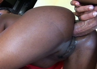 Ebony babe Jada Dash crammed upon her pleasing botheration with massive cock