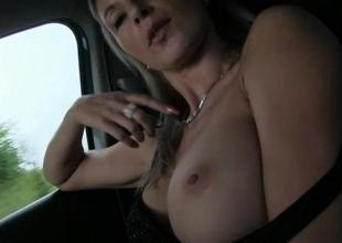 Busty amateur jail-bait Alena fucked in public
