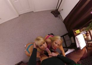 Blondes Austin Taylor and Mellanie Monroe sucking on huge cock pov style