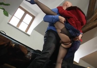 After work hardcore sex with a frayed hose girl
