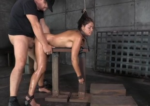 Ava Dalush overlapped roasted in a slavery threesome