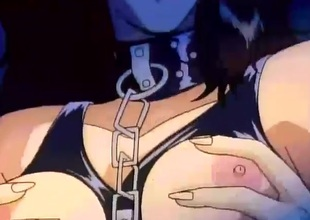 Chained toon flunkey girl fondled and fingered