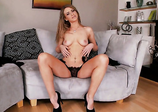 Delilah Blues pink pussy exposed on every side solo scene