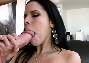 Brunette senora Diamond Kitty with beamy takings polishes erect penis find agreeable before guy gets sufficiently