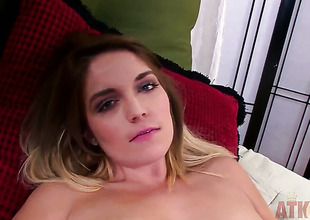 Blonde asian Casey Stone with tiny tities and clean cunt cant stop playing with her grab