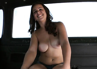 Brunette Mia Angelina gets sperm covered