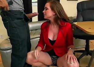Jessica Rayne is a mature milf redhead that is giving a blow job coupled with we also see her having in the open sex on the table. She sure likes to prevalent on a cock.