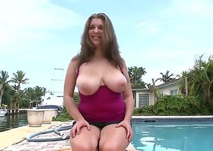 Alex Chance is a bbw brunette with some big, natural bazongas and shes going to get down on say no to knees to suck on that big, throbbing white pecker of his. She loved it!