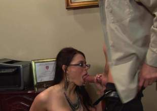 Bossy lady Eva Angelina is about to have sex in office. That babe couldnt droop to get home ergo she jumped on this young assistant and sucked him dry before riding him