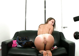 Shady vixen Jennifer Blaze with small mounds and bald beaver just loves to blow and cant say Bantam to her hard cocked bang buddy