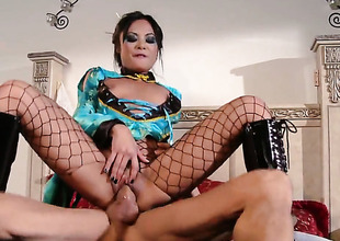 Kaylani Lei gets the brush nice light covered in sticky nectar after sex with wanton ladies'