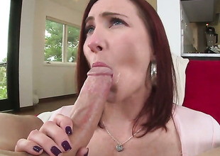 Redhead whore Sophia Locke round large melons and trimmed beaver shows her love for love torpedo sucking in blowjob action round hot bang buddy