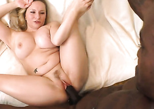 Comme ci Aiden Starr with phat hinge polishes fortunate dudes erect love wand with her lips