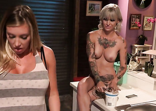 Kleio Valentien with big wobblers is attainable to play with her muff all day long