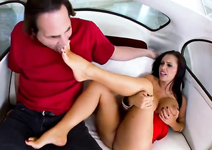Brunette Jenna Presley with gigantic hooters acquires cum scruffy after sex with hot guy