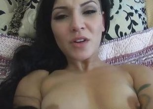 Cum on Aimee Blacks shaved pussy after POV