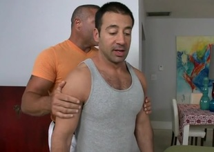 Horny henchman is giving stud a lusty ramrod sucking experience