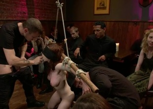 Cute slave-trade acquires a naughty group punishment for her twat