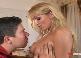 Blonde wifey is tired of her hubby's limp dick and need a real defy