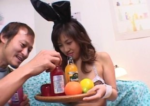 Cute Asian maid serves her queen some drinks then sucks his pecker