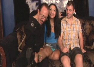 Smutty honey in a miniskirt filmed to the fullest she weathers hardcore throbbing in a 3some