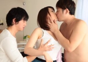Two fellows tag team a hawt Asian girl and fuck her worthwhile and hard