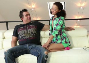 Cute slut sucks and screws a chubby cock chap robustly