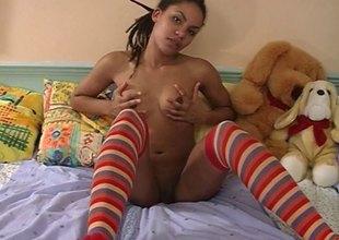 Sweet ebony sweetheart in knee socks dildoes will not hear of narrow fur pie