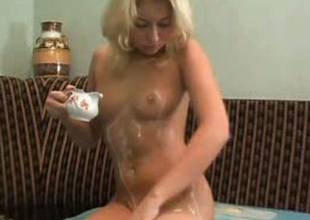 Sweet all natural blonde head can't live without fingerfucking her soaking itchy twat