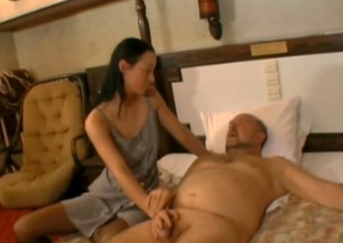 Cock crazed slip up on Irene sucks this old fart's cock take pleasure in a wild bitch