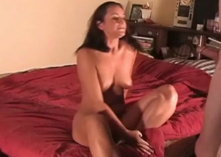 Despondent natural busty brunette GF blows her BF's cock in advance of doggyfuck