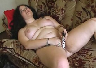 Zestful bbw masturbating with a dildo before getting slammed hardcore